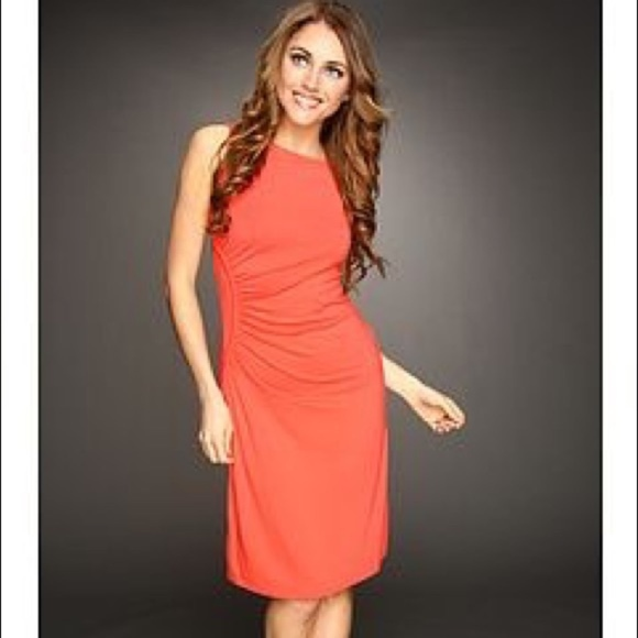 Tommy Bahama Dresses & Skirts - Tommy Bahama Coral Ruched Knee Length Dress